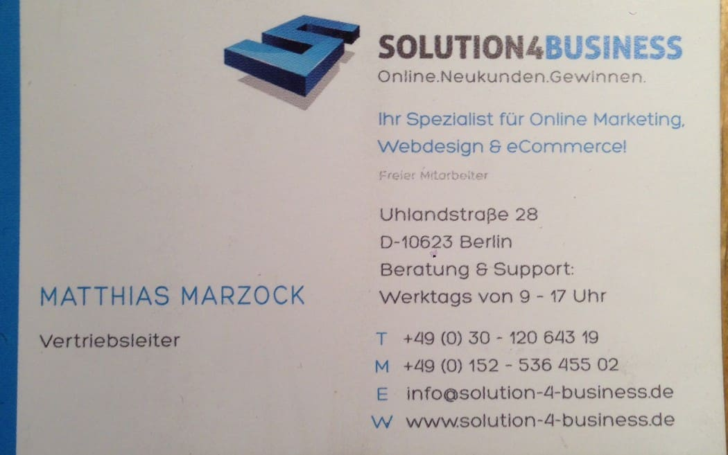 Betrug marzock solution 4 business